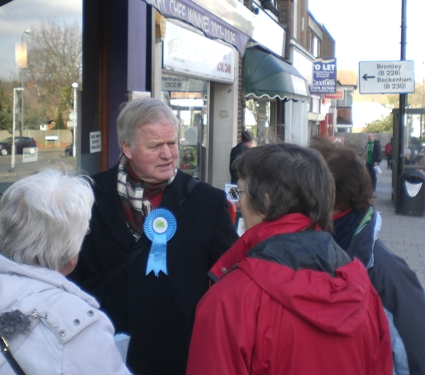 Bob Stewart DSO Prospective MP for Beckenham in Station Approach Hayes